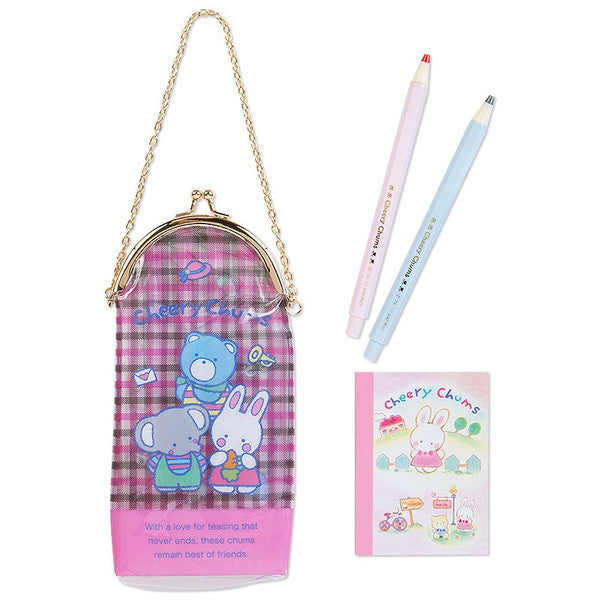 Cheery Chums mini Stationery Set PVC Clasp Pouch Sanrio Japan