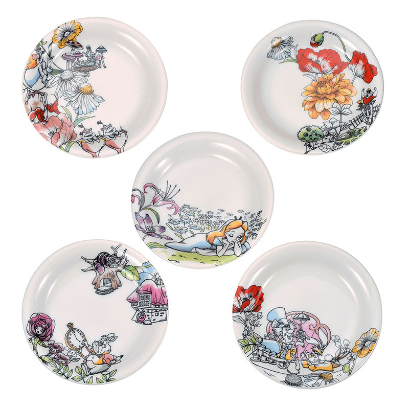 Alice in Wonderland Small Plate 5pcs Set Fantasy Disney Store Japan With Box