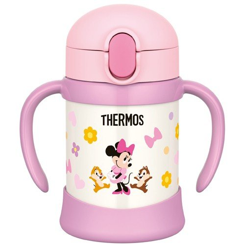 Minnie Stainless Training Straw Mug Cup 250ml Light Pink Thermos Japan Baby