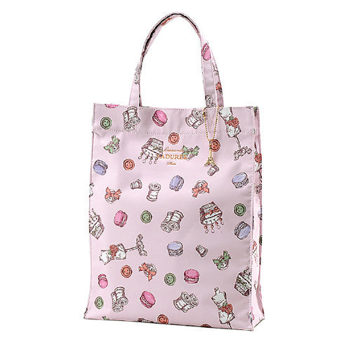 Laduree Japan Macaron Tote Bag L Sewing Pink Eiffel Tower Charm from