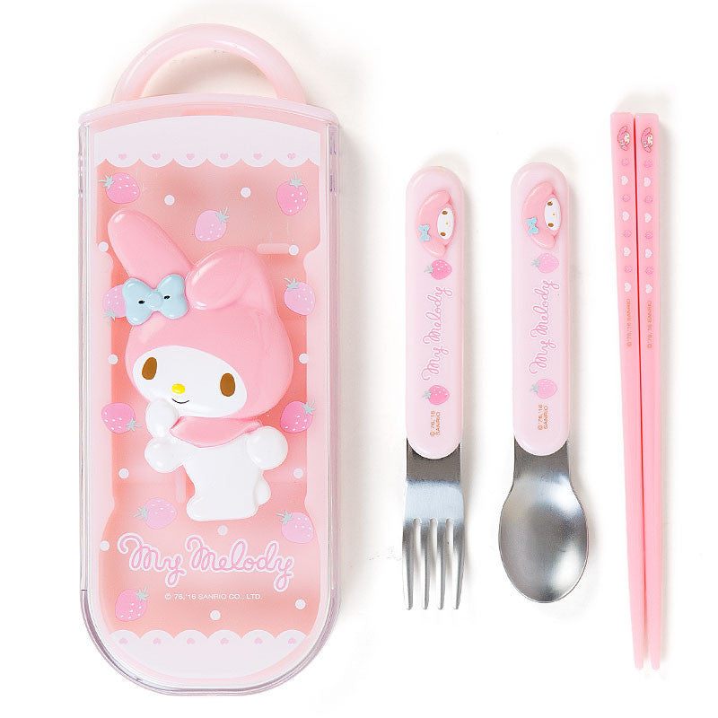 My Melody Relief Lunch Trio Cutlery Fork Spoon Chopsticks Sanrio Japan