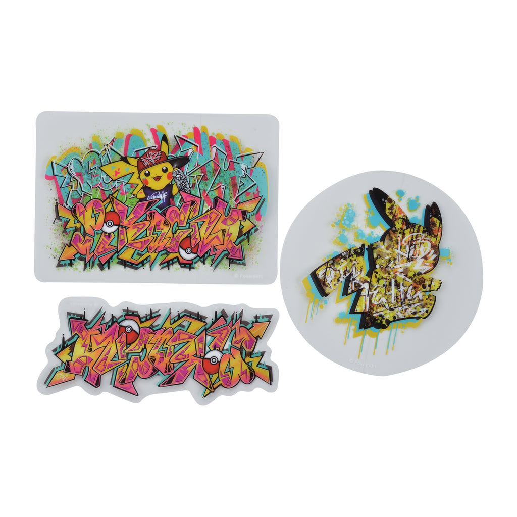Pikachu Sticker 3pcs Set Pokemon Center SHIBUYA Graffiti Art Japan