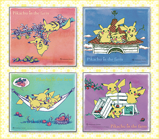 POKEMON Center Limit Pikachu in the Farm Nordic Art Paper Full 4 SET