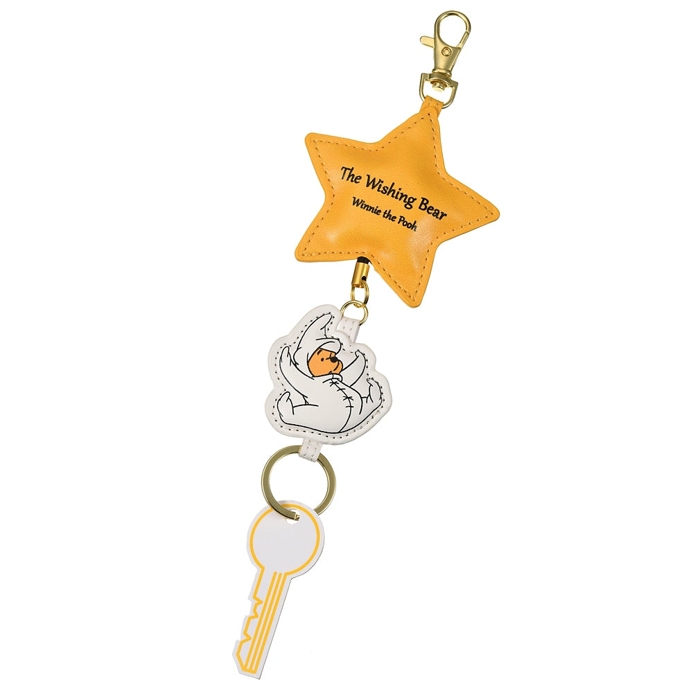 Winnie the Pooh Keychain Key Holder Reel The Wishing Bear Disney Store Japan