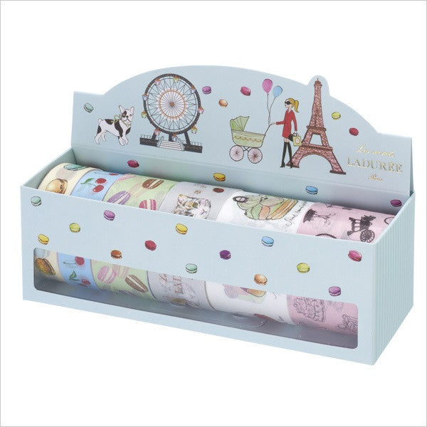 Laduree Japan Masking Tape Sticker Set 6 w/ Box Paris Macaron Blue