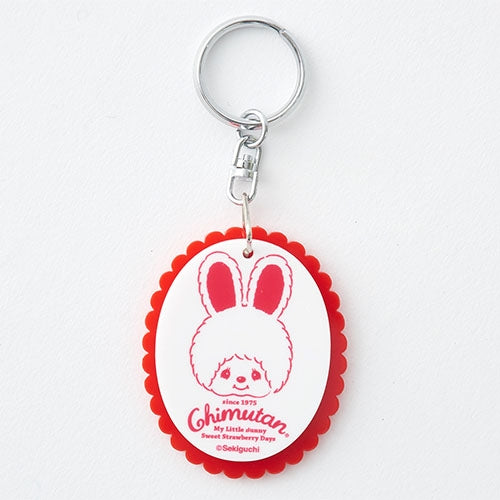 Chimutan Acrylic Keychain Key Holder Strawberry Frill Monchhichi Japan 2019