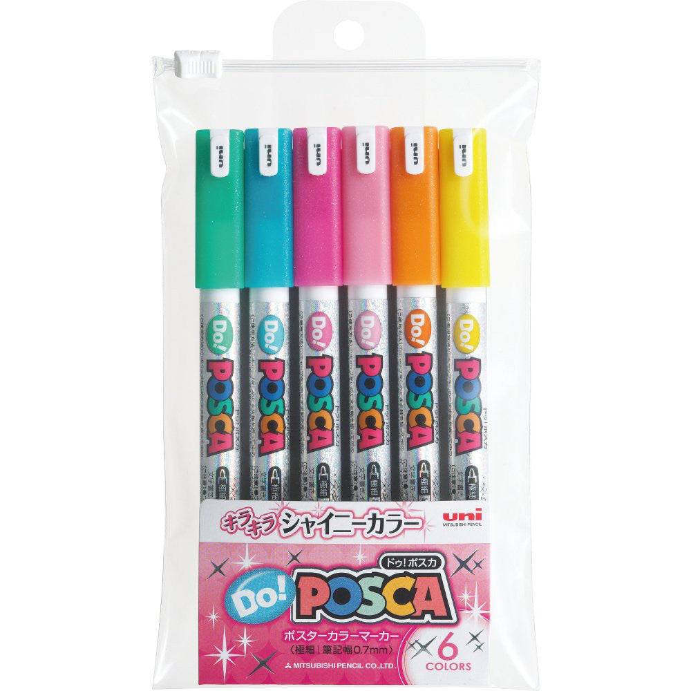 UNI MITSUBISHI POSCA Do! Marker Pen Extra Fine Shiny 6 colors PC1MDS6C Japan