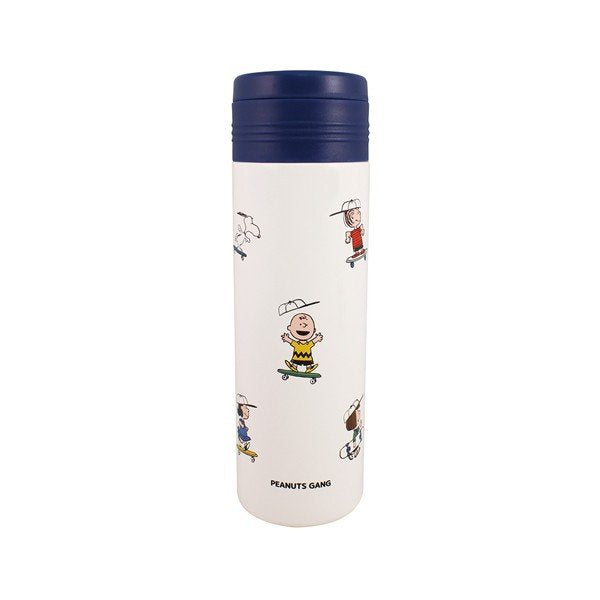 Snoopy Stainless Bottle 460ml Skateboard Blue PEANUTS Japan