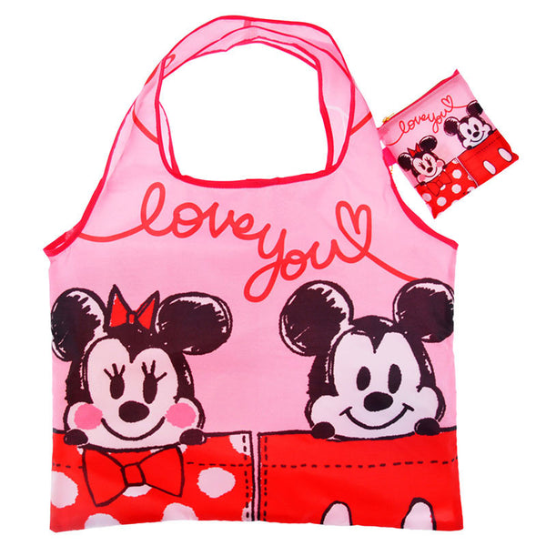 Eco Tote Bag Graffiti Mickey & Minnie Pink Disney Store Japan 2016
