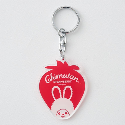 Chimutan Acrylic Keychain Key Holder Strawberry Die-Cut Monchhichi Japan 2019