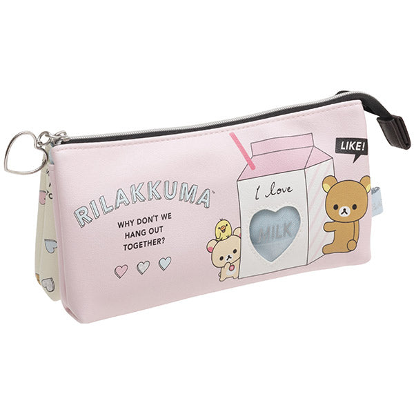 Rilakkuma 3Pockets Pen Case Pencil Pouch Heart Window San-X Japan