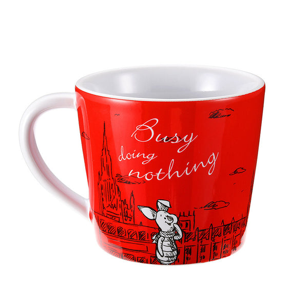 Winnie the Pooh & Piglet Mug Cup Red Christopher Robin Disney Store Japan