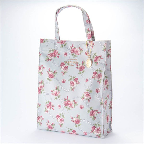 Tote Bag L Rose & Pearl Gray Laduree Japan