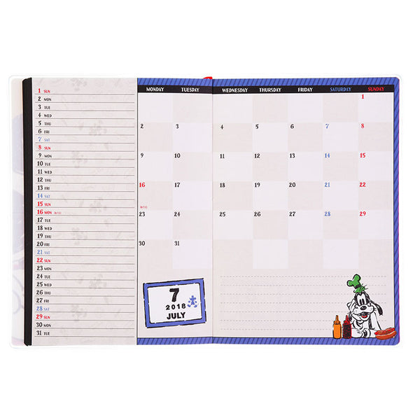 Mickey & Goofy 2018 Schedule Notebook B6 Monthly FASHION NYNY Disney Store Japan