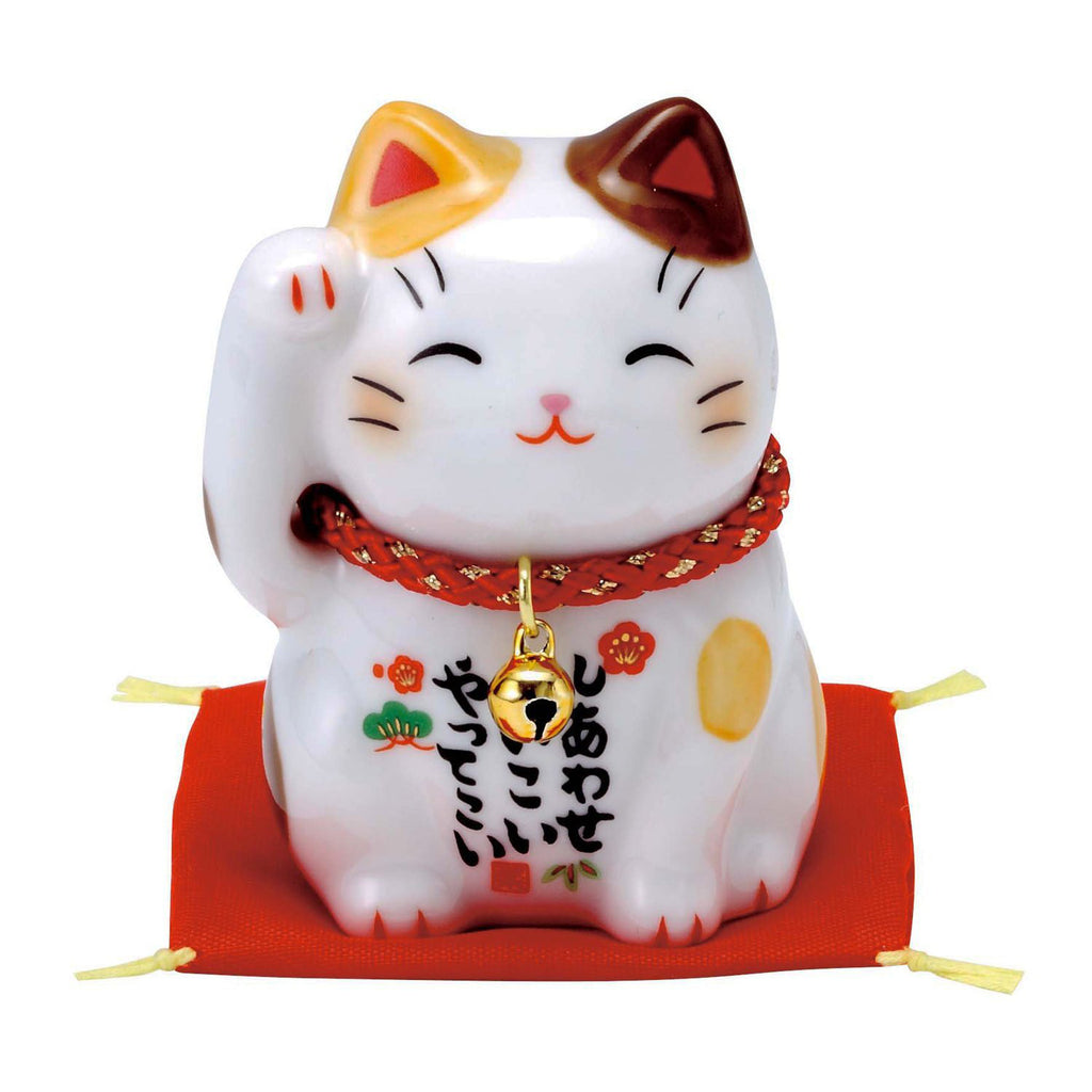 Japan Beckoning Cat Maneki Neko Lucky Right Hand for Money 7532 Brown Spot