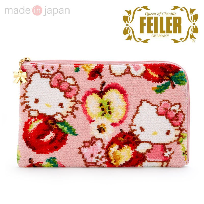 Hello Kitty Mask Pouch FEILER Chenille fabric Apple Sanrio Japan