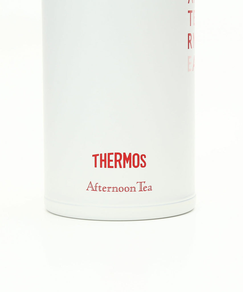Thermos Stainless One Touch Slim Bottle 400ml Logo Red White Afternoon Tea Japan