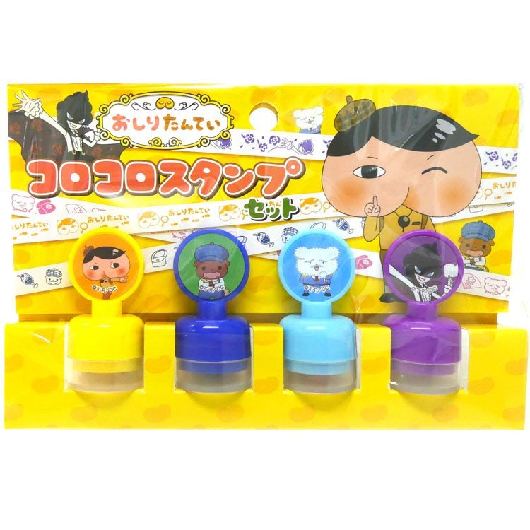 Oshiritantei Butt Detective mini Roll Stamp Korokoro 4pcs Set Japan