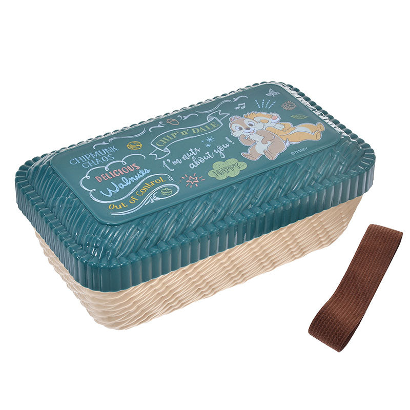 Chip & Dale Lunch Box Bento Rattan Basket style Cafe Board Disney Store Japan