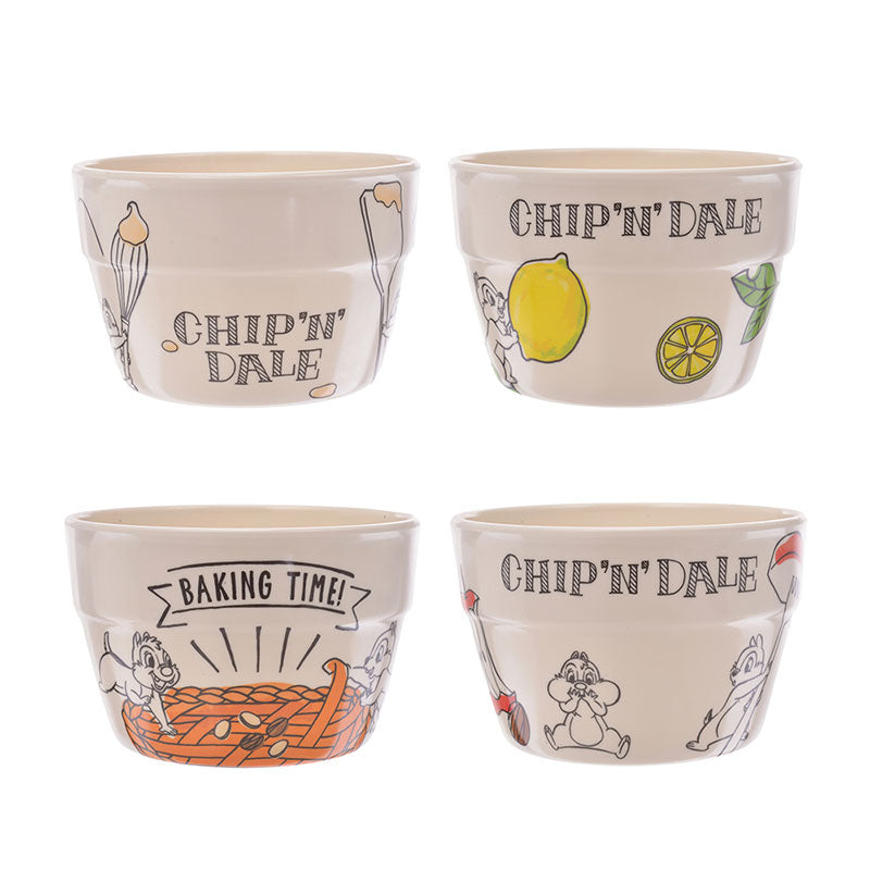 Chip & Dale Melamine Bowl 4pcs Set Cook & Eat Disney Store Japan