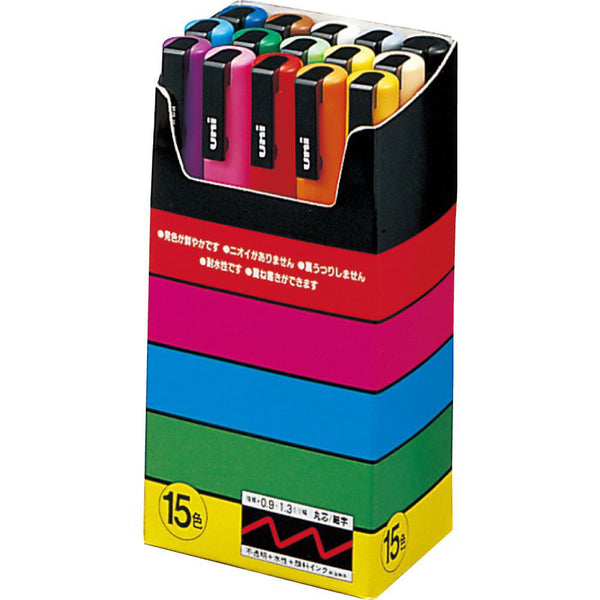 Mitsubishi Uni Posca PC3M15C Marker Pen 0.9-1.3mm 15 Color Set
