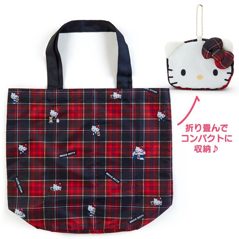 5064eab9cb2d Hello Kitty Eco Shopping Tote Bag Tartan Plaid Black Sanrio Japan