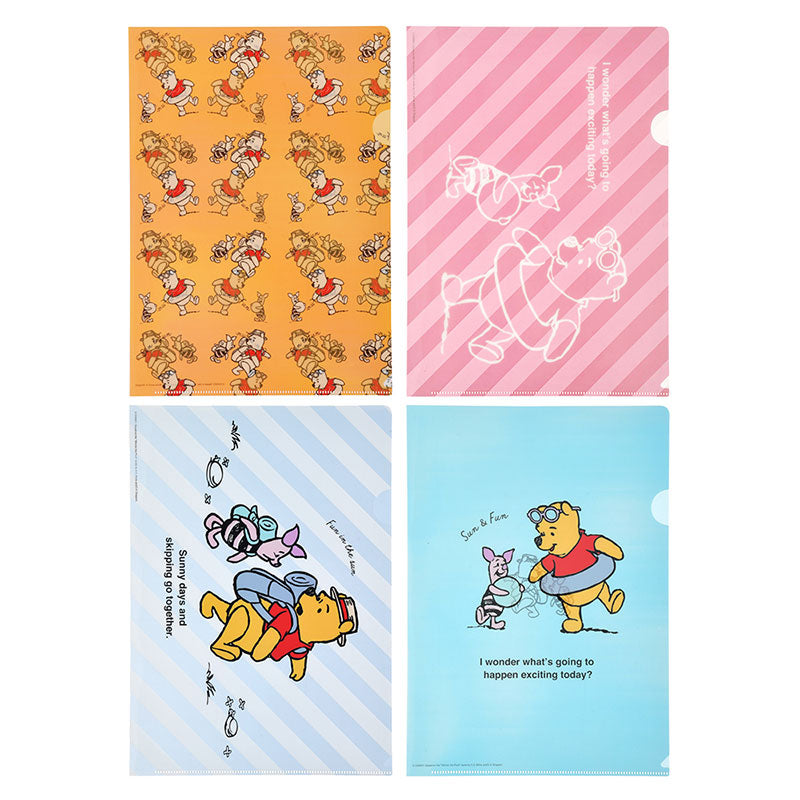 Winnie the Pooh & Piglet File Holder 4pcs Set Sun Disney Store Japan