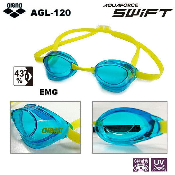 Swimming Goggles Anti-fog Non-cushion AGL 120 EMG Blue Yellow FINA arena Japan