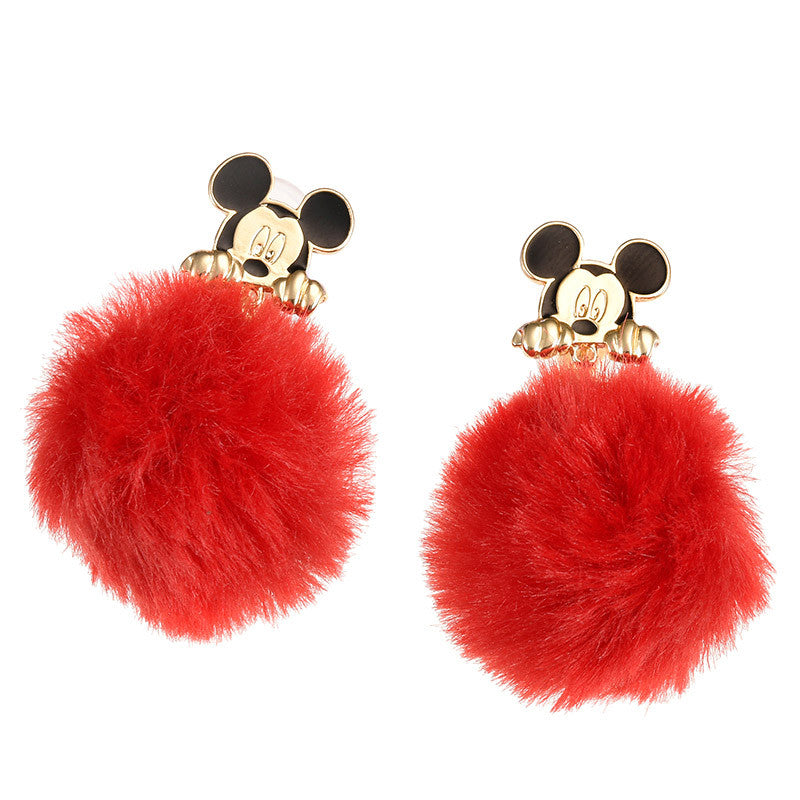 Mickey Fake Fur Non Pierced Earring Autumn & Winter Disney Store Japan