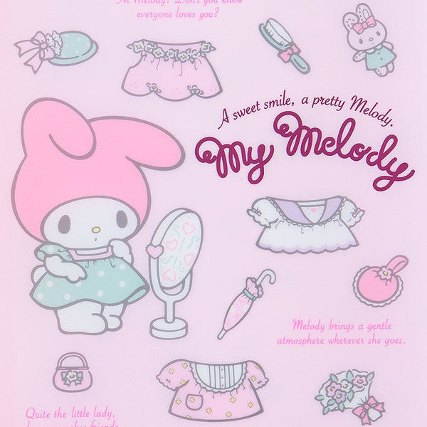 My Melody A4 Spread Clear File Folder Dress Up Sanrio Japan
