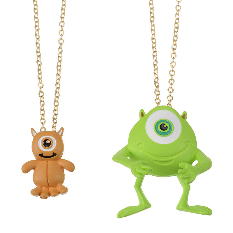 Monsters University Little Mikey & Mike Necklace Disney Store Japan
