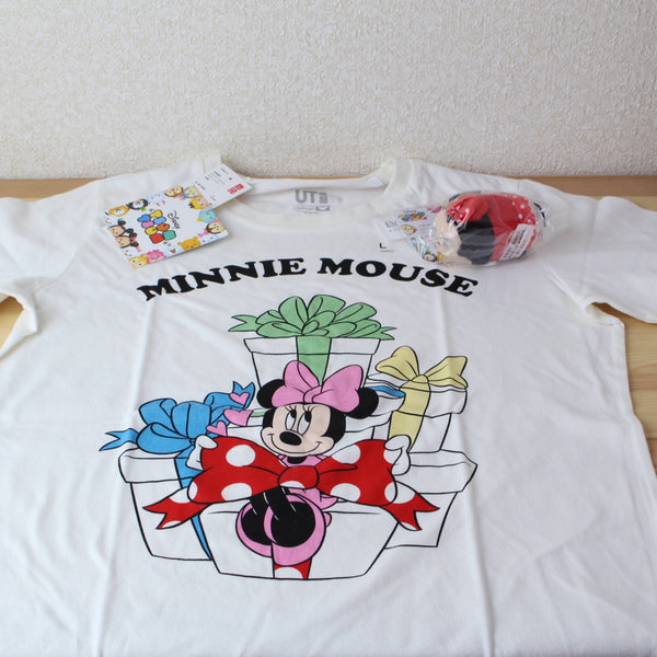 Minnie UNIQLO x TSUM TSUM Disney Plush (S) & T-shirt Japan size L white