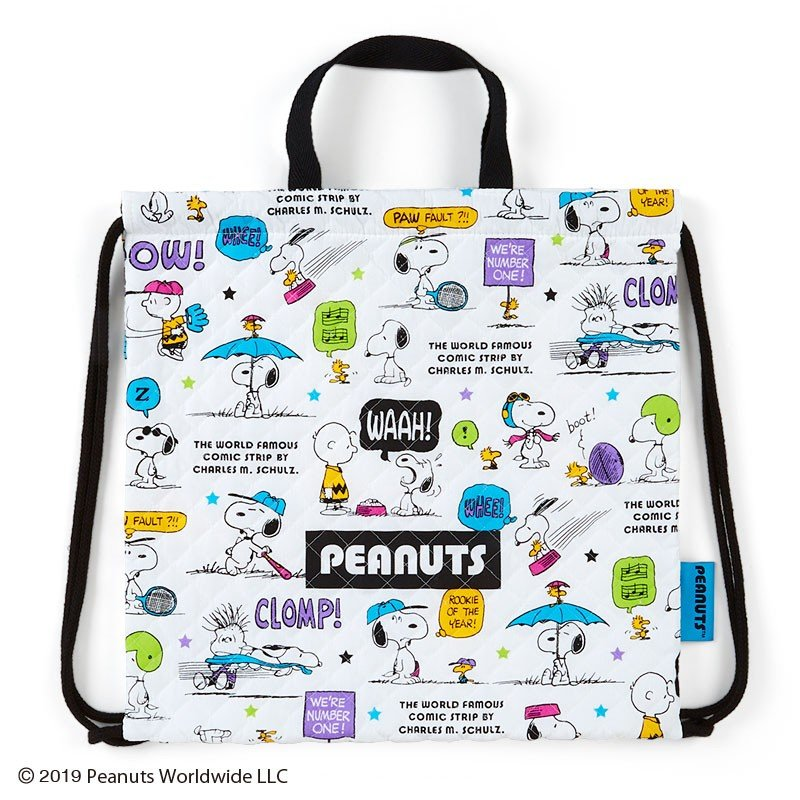 Snoopy Quilting Knapsack with Handle Colorful PEANUTS Sanrio Japan