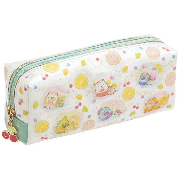 Sumikko Gurashi Twin Zipper Pen Case Pencil Pouch Penpen Fruits San-X Japan