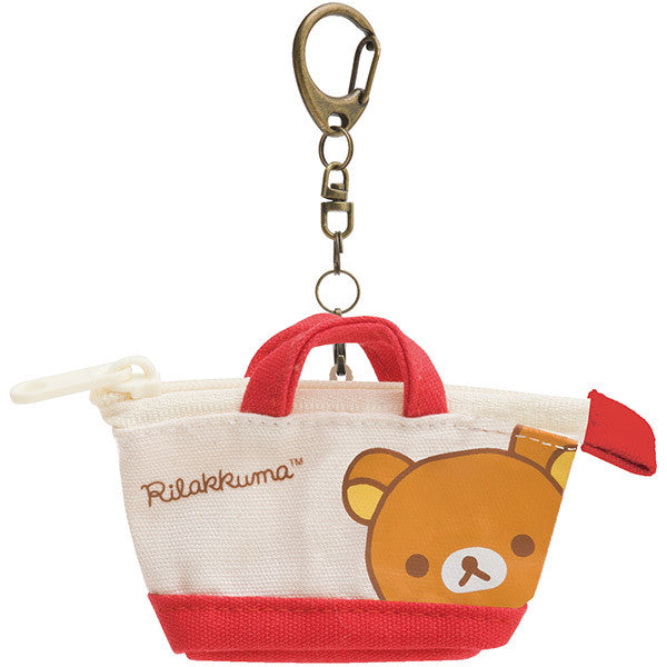 Rilakkuma Keychain Key Holder 2WAY Tote Bag Shape Red San-X Japan