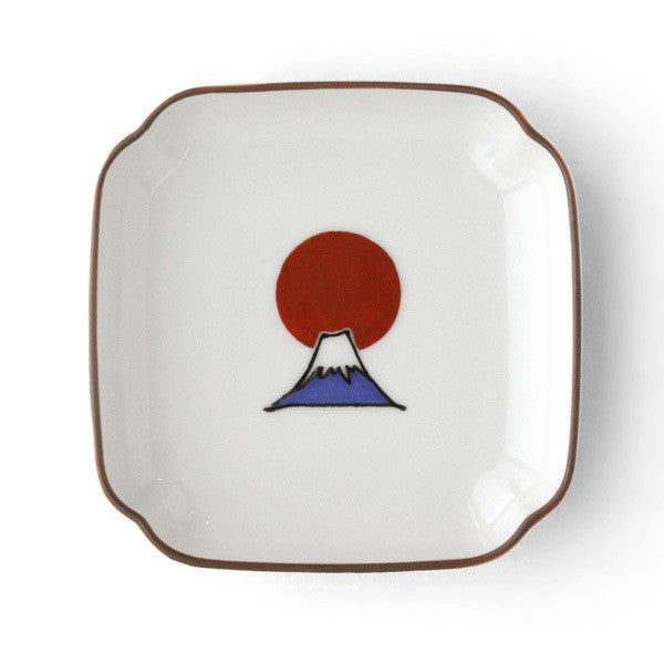KUTANI SEAL Square Small Bowl Mt. Fuji Japan Made