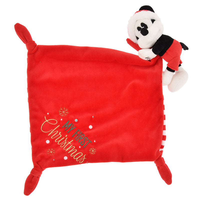 Mickey Blanket with Plush Doll Disney Store Japan Baby MY FIRST CHRISTMAS
