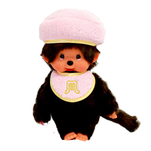 Monchhichi Doll S Girl Pastel Beret Light Pink Japan