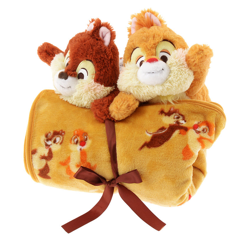 Chip & Dale Moco Moco Fluffy Blanket with Plush Doll Disney Store Japan