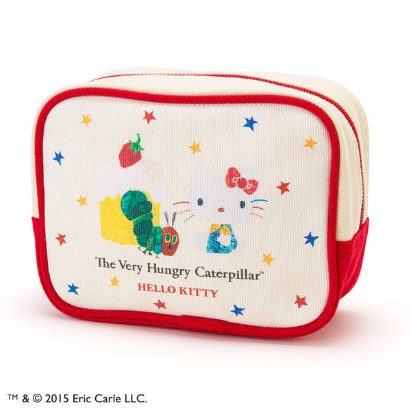 Hello Kitty The Very Hungry Caterpillar Canvas Square Pouch logo Sanrio Japan