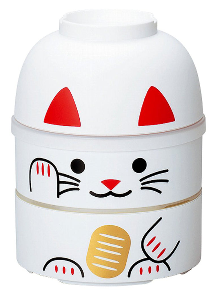 Japanese Kokeshi Bento Lunch Box Manekineko Cat White L HAKOYA Japan 52679