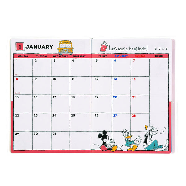 Mickey 2018 Schedule Notebook A6 Monthly Monday to Friday Disney Store Japan
