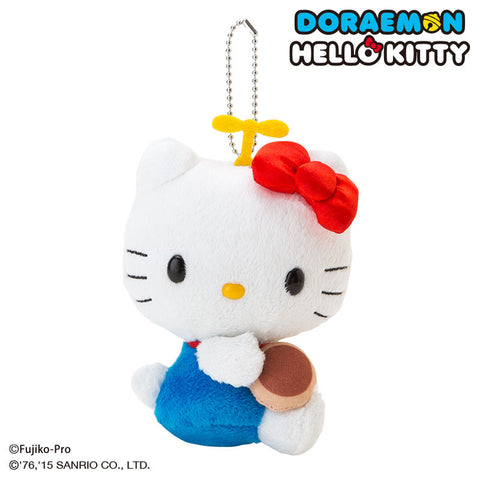Doraemon x Hello Kitty Dorayaki Plush Mascot Key Chain SANRIO Japan