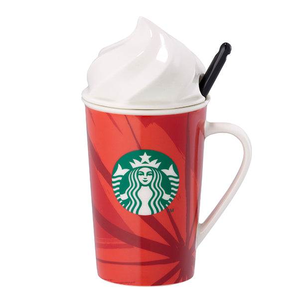 Starbucks Christmas Taiwan 2014 Whipped Cream Mug Cup TOGO Logo Xmas 8oz red