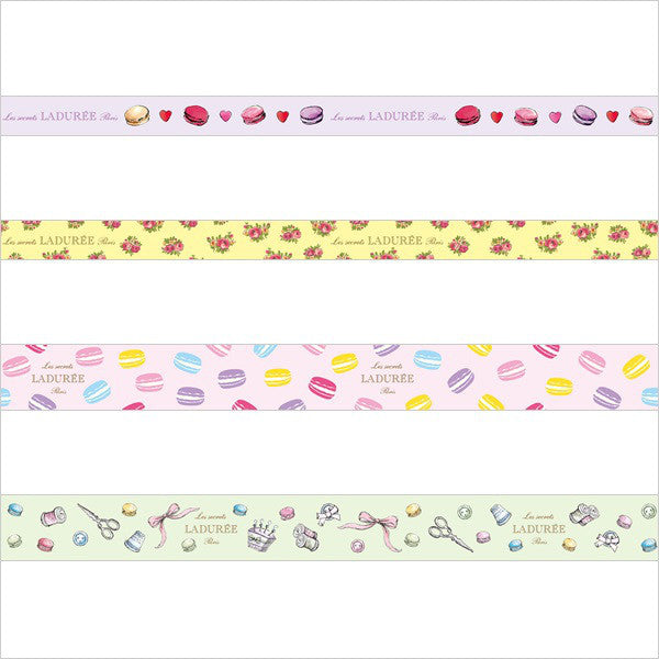 Laduree Japan Macaron Masking Tape Sticker Set 4 w/ Box Rose Pink