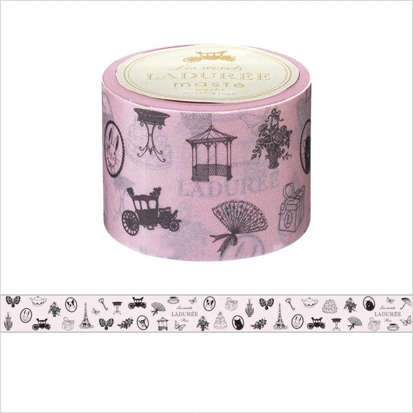 Laduree Japan Masking Tape Sticker 35mm Charm Carriage Cake Gift pink