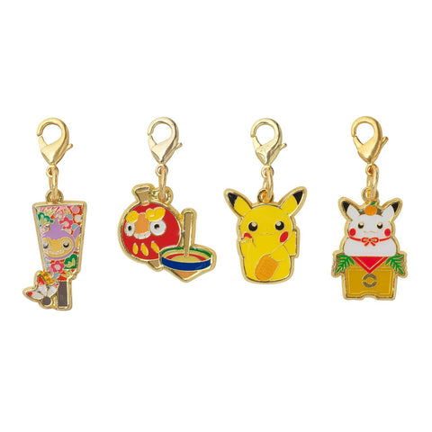 Pikachu Key Bag Chain Charm set 4 Pokemon Center Original Japan New Year 2016