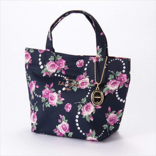 Tote Bag S Rose & Pearl Navy Laduree Japan