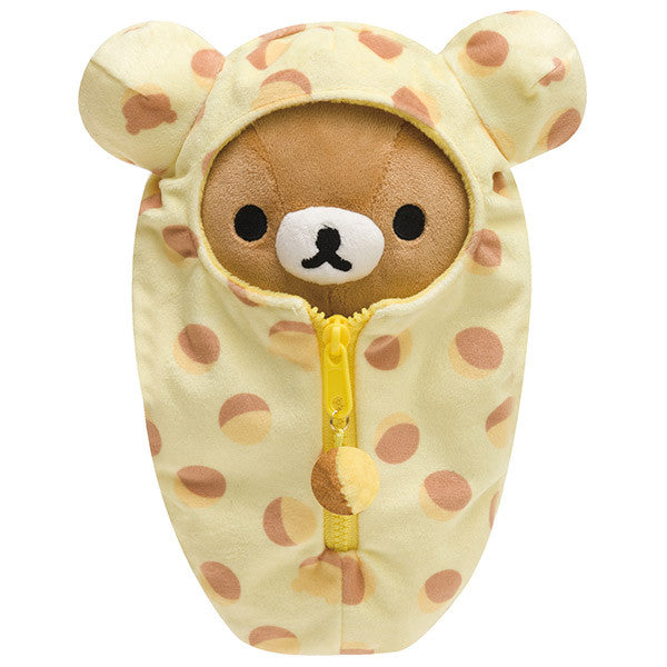 Rilakkuma Plush Doll Sleeping Bag Bell Castella San-X Japan