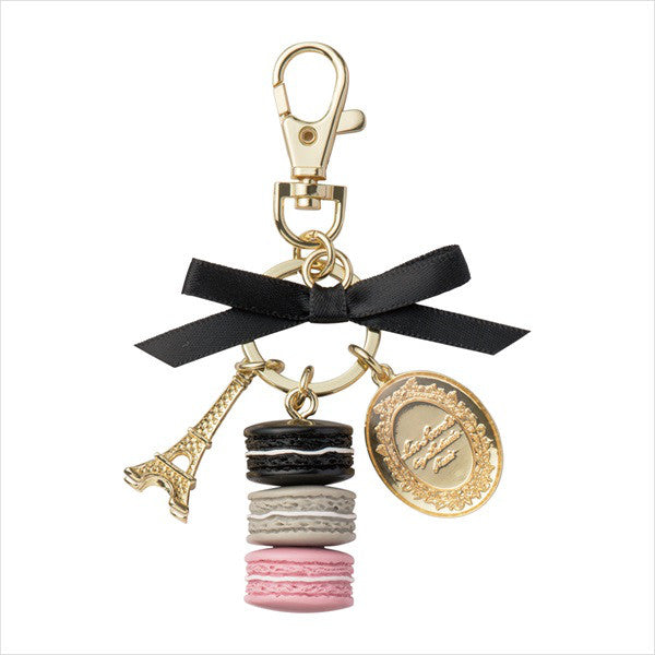 Bag Chain Keychain Ring Macaron Eiffel Tower Tivoli Black Laduree Japan Box